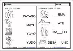 MATERIALES - Fichas de lectoescritura - Y.    Fichas para el aprendizaje de la lectoescritura en letra mayúscula.    http://arasaac.org/materiales.php?id_material=983