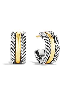 David Yurman - Cable Classics Hoop Earrings with Gold
