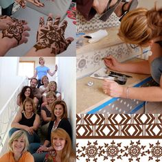 Henna inspired stencils on stair risers from first Peacock Painting trip to Marrakech. So much fun!
