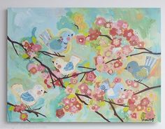 POTTERY BARN KIDS CHERRY BLOSSOM WALL ART~TURQUOIS