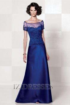 A-Line/Princess Bateau Floor-length Chiffon Satin Mother of the Bride - IZIDRESSES.com at IZIDRESSES.com