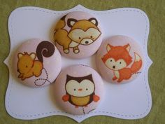 Fox and Friends- Fabric covered button collection- size 60. $9.50, via Etsy.