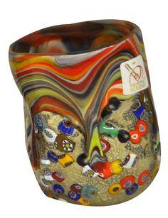 Multicolour Murano glass with murine. Elis Murano Glass