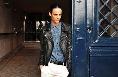 Leather over denim shirt