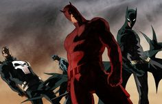 the knights coloured by anklesnsocks.deviantart.com - Marvel x DC - Daredevil, Batman, the Punisher, and the Question.