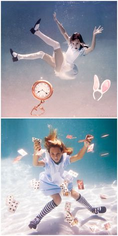 Elena Kalis Alice in Wonderland-underwater photos.