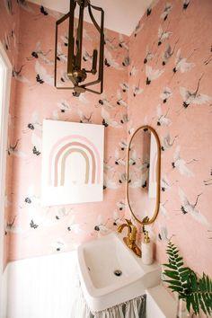 Bathroom Wallpaper, Vinyl Wallpaper, Bathroom Sink Skirt, Faux Walls, Wallpaper Companies, Old Mirrors, Utility Sink, New Toilet, Traditional Wallpaper
