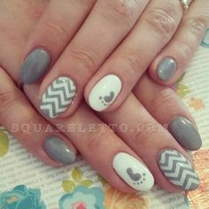 baby shower theme/ new mom/ gender reveal/ chevron nails