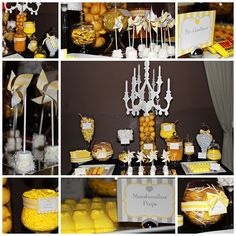 name plates to identify food items. Candy Bar Party, Candy Bar Wedding, Yellow Candy, Colorful Candy, Lolly Buffet, Candy Buffet, Dessert Bars, Dessert Tables, Yellow Birthday