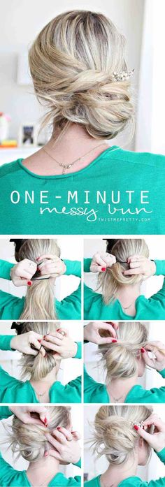 Easy Hairstyles for Work - One Minute Messy Bun - Quick and Easy Hairstyles For The Lazy Girl. Great Ideas For Medium Hair, Long Hair, Short Hair, The Undo and Shoulder Length Hair. DIY And Step By Step - https://www.thegoddess.com/easy-hairstyles-for-work