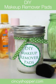 DIY Makeup Remover Pads with FREE Printable Label  (**Due to chemicals being in the Johnson & Johnson products, I make this recipe using Dr Bronner's Castile soap and Vitamin E oil