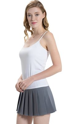 887b188278409 HBY Womens Camisole Built in Shelf Padded Bra Cami Bra Adjustable Straps  Tank Top Solid Color. Round scoop neckline