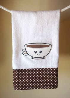 Adorable Coffee Latte Theme Kitchen Hand Towel by HappyPantry, $12.99