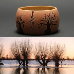 """Unique hand painted - Dot Painting technique - wooden bracelet """"Willows"""" by Matilda-Dolls & Bracelets http://www.matilda-dolls.com/  (Inspired by nature : an early morning ... weeping willow tree reflected in the water ...)"""