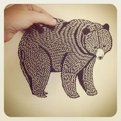Grizzly Paper Cutting, by Emily Brown of Bird Mafia