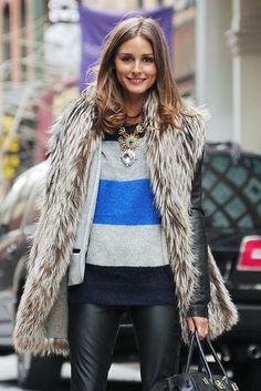 fur vest/ sweater/ leather pants