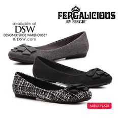 Flats fit into almost any look. Perfect at the office, out to dinner, & especially while traveling. The flirty little Fergalicious by Fergie ADELE flat is an oh-so-sweet choice for any of your favorite outfits, from DSW Designer Shoe Warehouse!