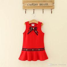 Vieeoease Girls Dress Stripe Kids Clothing 2018 Summer Fashion Sleeveless Vest Bow Princess Party Dress EE-267