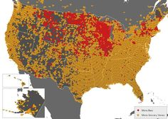 Where google maps finds more bars than grocery stores. Red is more bars, yellow more grocery stores.