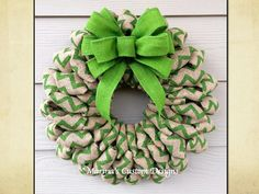 Chevron Burlap Wreath St Patrick's Day by marinascustomdesigns Burlap Crafts, Wreath Crafts, Diy Wreath, Wreath Ideas, Easter Wreaths, Holiday Wreaths, Holiday Crafts, Chevron Burlap Wreaths, Deco Mesh Wreaths