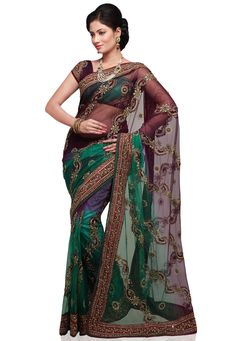 Double Dye Dark Purple and Green Net Saree with Blouse Online Shopping: SMZ269B