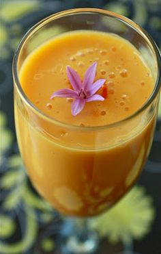 Saffron Mango Lassi.  Perfect for a hot day (or spicy Indian food)