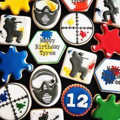 Happy Birthday Cookie, Birthday Treats, 12th Birthday, Birthday Cookies, Birthday Bash, Birthday Parties, Fun Cookies, Sugar Cookies, Paintball Birthday Party
