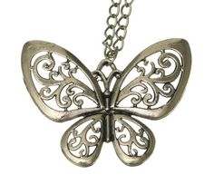 70cm Butterfly Pendant Sweater Chain Necklace Jewelry Vintage Charms