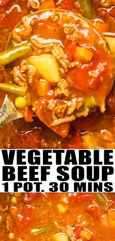 VEGETABLE BEEF SOUP RECIPE- Quick easy old fashioned homemade with simple ingredients cooked in one pot over stove top. A 30 minute meal loaded with ground beef vegetables Italian flavors. Can be made in slow cooker with stew meat instead of hambur Hamburger Meat Recipes Ground, Beef Soup Recipes, Easy Meat Recipes, Easy Meals With Hamburger Meat, Recipes With Ground Meat, Simple Soup Recipes, Hamburger Meat Casseroles, Beef Soups, Herb Recipes