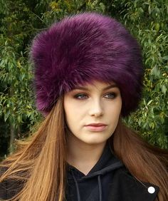 Beautiful Purple Faux Fur Hat with Cosy Polar Fleece Lining 5a21edd57a6a