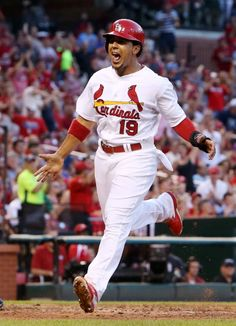 Jon Jay reacts as he scores the first run of the game on a double by Matt Holliday, Aug. 20, 2014. Cardinals defeat Reds, 7-3. Photo by Chris Lee, clee@post-dispatch.com