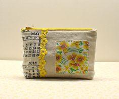 Pretty Pouch-Touch of Vintage-Calendar Tea Towel