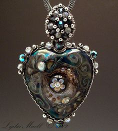 For Heart's Sake Lampwork Bead Pendant, Sterling Silver Wire Wrapped with Swarovski Crystal Beads