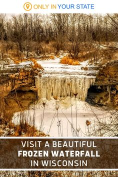 You don't even need to hike to enjoy this beautiful frozen waterfall at Fonferek's Glen County Park in Wisconsin. The waterfall is easily accessible, even in the winter. If you want to wander, you can take a short trail right to the waterfall or explore the nearby cliffs and natural bridge. Winter Fun, Winter Travel, Stone Archway, Parks Department, Editing Background, Natural Bridge, Magical Forest, County Park, Rv Travel
