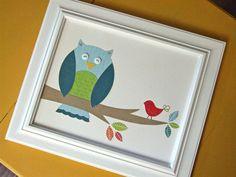 Owl Nusery Art, 8 x 10 Collage Wall Art, Woodland Owl Art. $24.00, via Etsy.