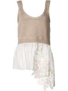 knitted top with open embroidery insert