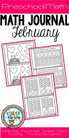 This Preschool Math Journal for February contains fun, engaging math activities for preschoolers to practice daily. It is quick and no prep is required. This product covers the skills necessary for a successful transition to kindergarten - it is perfect for the Pre K, TK early childhood classroom.