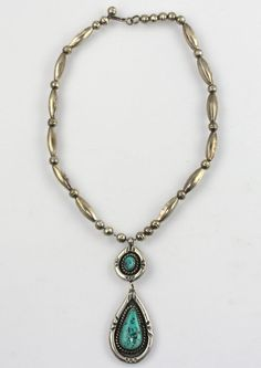 Old Native American Signed Sterling Silver Melon Bench Bead Turquoise Necklace…