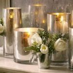 Spray glass with lookinglass paint (Mirror paint) for this glamorous candle holder.