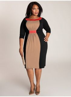 I love the color combination on this colorblocked dress.  Sophie Colorblock Dress in Black. IGIGI by Yuliya. www.igigi.com