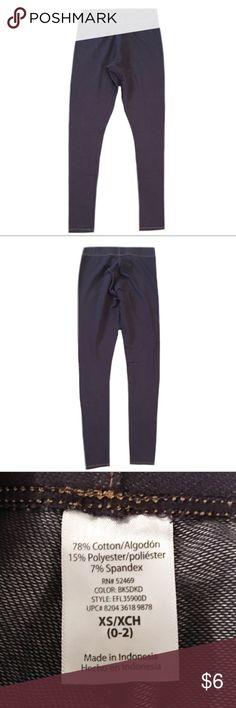 "Denim Looking Leggings Gently used woman's size x-small (0-2) blue denim looking leggings. Made with 78% Cotton, 15% Polyester and 7% Spandex. Length is 34"" Pants Leggings"