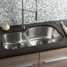 """Hahn Classic Chef Series 32.38"""" x 20.5"""" 30/70 Double Bowl Kitchen Sink"""