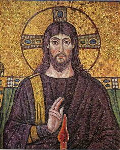 Mosaic of Christ commissioned by Archbishop Maximian (546/556 AD),  Basilica of San Vitale, Ravenna