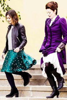 Clara and Missy-season 9 of Doctor Who! Missy is wearing a Vortex Manipulator!!!