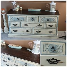 Rustic Beach Cottage Dresser, Painted in Baby Boo, Antique Whtie with heavily distressed for that popular Shabby Chic look. Top is stained in Gel. Repurposed Furniture, Painted Furniture, Java Gel, Room Themes, Beach Themes, Chalk Paint, Cabinets, Dresser, Shabby Chic
