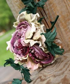 Pastel cream pink purple leather flower brooch. Corsage
