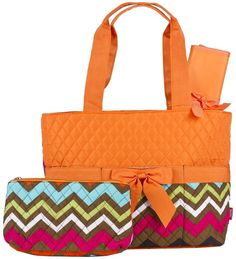 Orange Chevron Quilted Diaper Bag with Changing Pad and Accessory Case - 3 Piece - Handbags, Bling & More!