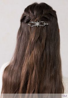 Brilliant 'North Star' flexi hair clip ~ Here's an accessory that will really make you shine!  See how it sparkles in this half up double french braids hairstyle.