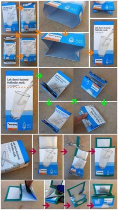 21 Upcycling Ideen, was man aus leerem Tetrapack zaubern kann upcycling ideen recycling basteln tetrapack büro geldbörse mit Upcycled Crafts, Diy Crafts, Diy For Kids, Crafts For Kids, Tetra Pak, Diy Wallet, Diy Upcycling, Recycling Bins, Diy Projects