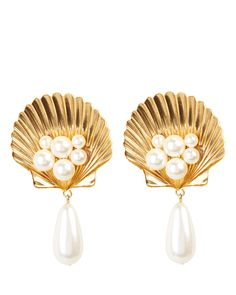 Positano Shell Clip-On Earrings 90s Jewelry, Jewelry Shop, Jewelry Design, Shell Earrings, Clip On Earrings, Pearl Earrings, Designer Earrings, Designer Jewelry, Positano